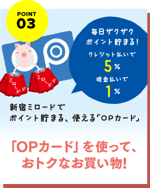 "Shopping that is advantageous using POINT03 ""OP card!"""